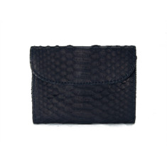 Black python and napa leather flap card case