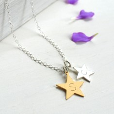 Personalised Sterling Silver and Gold Double Star Initial Necklace