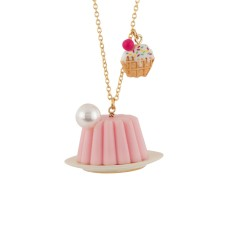 Pink Jelly Cake and Waffle Necklace