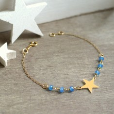 Personalised Gold Little Star and Blue Agate Bracelet