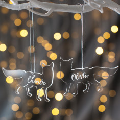 Personalised Clear Arctic Fox Christmas Decoration