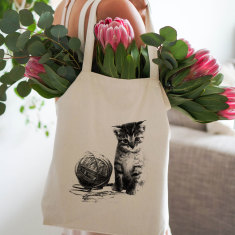 Cat with yarn tote bag