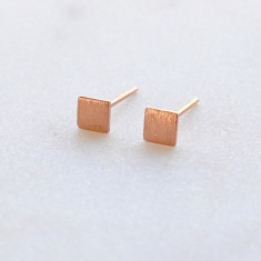 Petite square stud earrings in rose gold