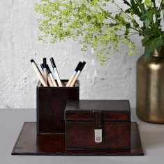 Small leather desk accessories set