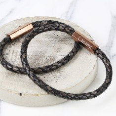 Personalised Men's Grey Woven Leather Bracelet With Slim Hexagonal Clasp