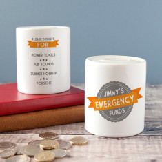 Personalised Emergency Funds Keepsake Money Box