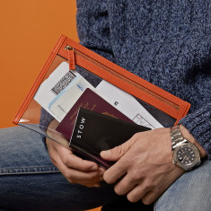 Luxury Transparent Leather-Trimmed Travel Pouch