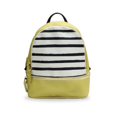 Small Leather Backpack with Stripes in Mustard Yellow