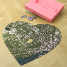 Aerial heart map jigsaw puzzle