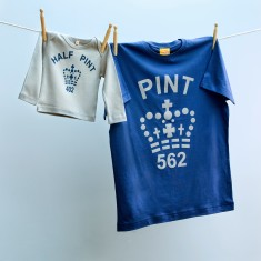 Matching pint and half pint t-shirt set for dad and child (navy & grey)