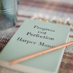 Personalised Vintage Leather Notebook - Progress Not Perfection