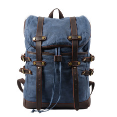 Blue Canvas Waterproof Backpack/Laptop Bag With Leather Details