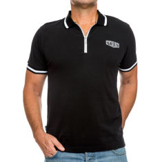 Classic black men's polo with zipper