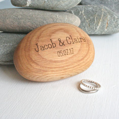 Personalised Oak Pebble Ring Box