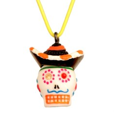Calaveras small necklace - Sombrero skull