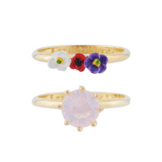 Pink stone and French flowers - Set of two rings