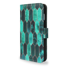 Stained Glass Green Smartphone Wallet Phone Case