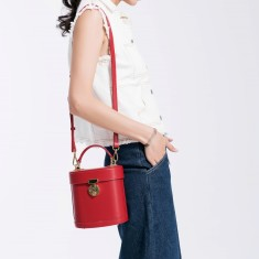 Red Leather Tote Crossbody Bag