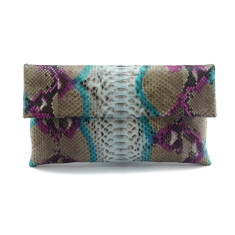 Turkish motif python leather classic foldover clutch