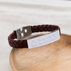 Personalised leather braided bracelet