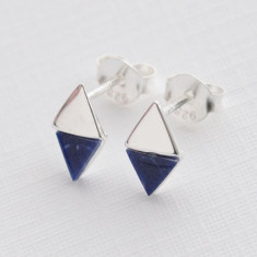 triangle studs in sterling silver and sodalite