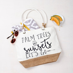 Palm Trees And Sunsets Beach Bag