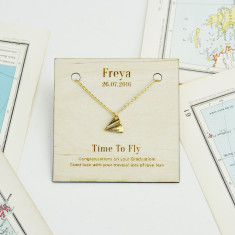 Personalised 'Time To Fly' Gold Necklace