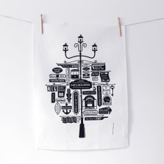 Melbourne sign linen tea towel