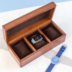 Personalised Leather watch box (triple)