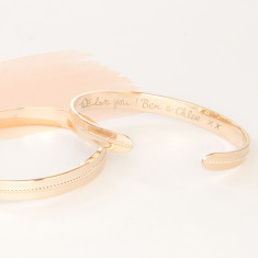 Personalised Single Beaded Open Bangle