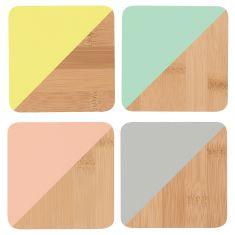 Bamboo Coasters Multicolour (set of 4)