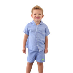 Blue herringbone boys' pj set