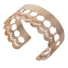 Lace edge open cuff in rose gold plate