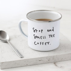 Smell the Coffee Enamel Mug