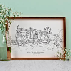 A3 Personalised Wedding Venue Illustrations