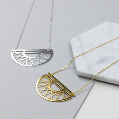 Geometric Crescent Necklace