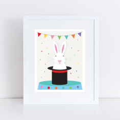 magical white rabbit art print