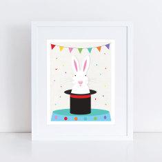 magical white rabbit art print