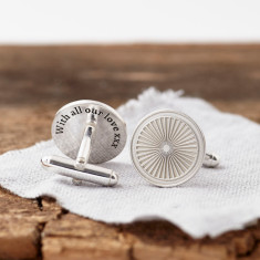 Personalised Silver Spokes Secret Message Cufflinks