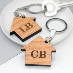 Set Of Two Personalised New Home Key Rings