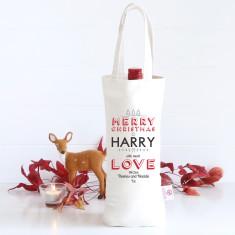 Merry Christmas personalised wine bag