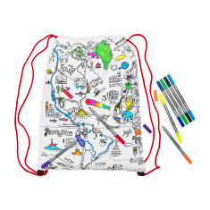 colour & learn world map backpack