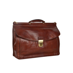 Full-grain Italian leather briefcase in brown