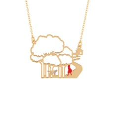 Hansel and Gretel in the Forest Golden Necklace