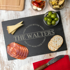 Personalised 'Food Tastes Better When…' Chopping Board
