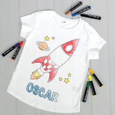 Personalised Colour Your Own Rocket T Shirt Kit