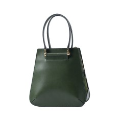 Green leather tote shoulder bag