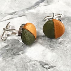 Harlequin Leather Cufflinks