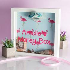 Personalised Flamingo Print Money Box Frame