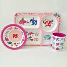 Tyrrell Katz Elephant Melamine Compartment Tray, Bowl and Cup Set